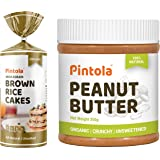 Pintola Organic Wholegrain Brown Rice Cakes (All Natural, Unsalted) (Pack of 1) + Pintola Organic Peanut Butter (Crunchy) (35