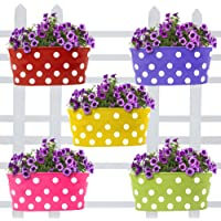 Woogor 4 Pcs Dotted Oval Vertical Railing Planters | Planter Pot with Hanger | Gamla | Hanging Planter Basket for Garden…