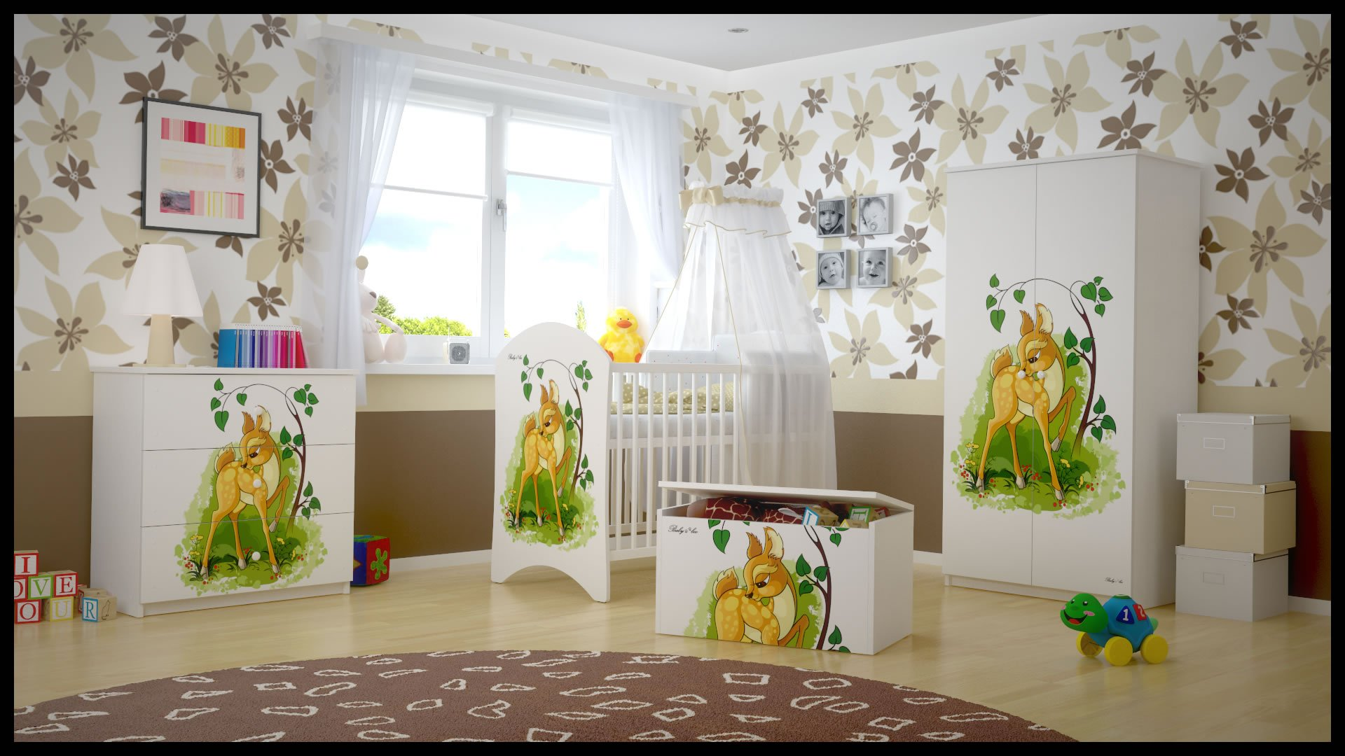 5 PCS BABY NURSERY FURNITURE SET - COT + MATTRESS + WARDROBE + CHEST OF DRAWERS + TOY BOX (model 15)  Included: cot + mattress + wardrobe + chest of drawers + toy box Material: wood GREAT QUALITY 1