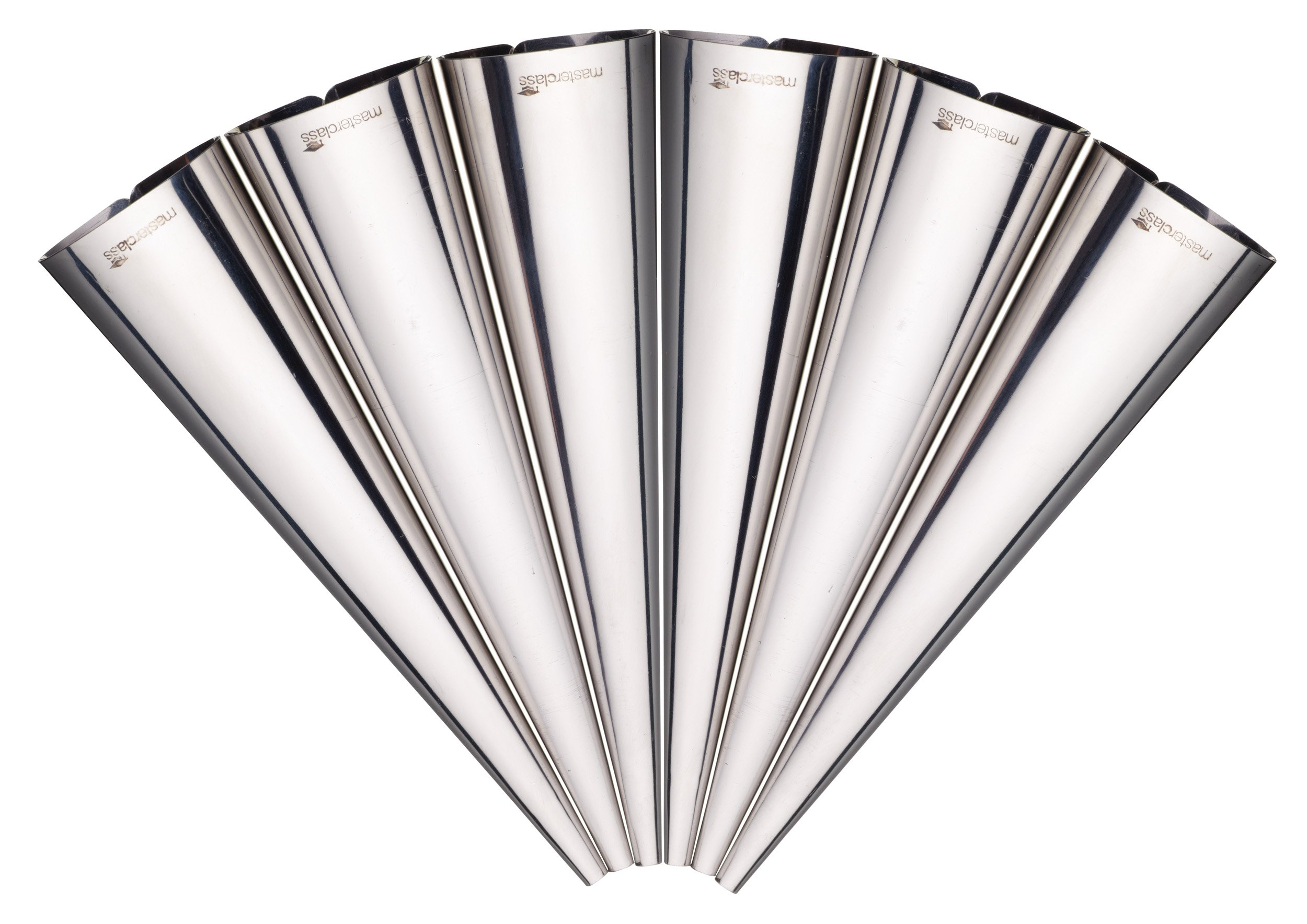 MasterClass 14 cm Cream Horn Moulds, Stainless Steel, 6 Piece Set of Cone Shapers 1