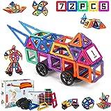 Fansteck 72pcs Bloques Magnéticos, Construcciones para Niños, Puzzle Niños 3D, Juegos de Mesa para Niños, Juguetes Niños 3+ A