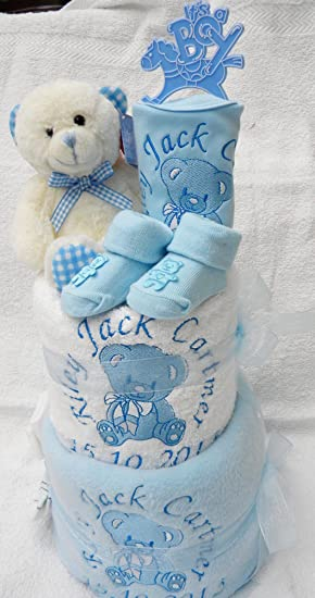 Personalised baby boy or girl nappy cake 2 tier teddy design baby personalised baby boy or girl nappy cake 2 tier teddy design baby hamper baby shower gift blanket teddy bib shoes blue amazon baby negle Choice Image
