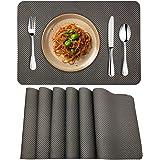MORROLS Lot de 6 Sets de Table, PVC Antidérapant Lavable Résiste à la Chaleur Rectangulaire Sets de Table pour Cuisine,Restau