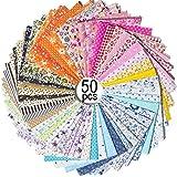 MOOKLIN ROAM 50 pièces Tissus Coton, Tissus à Coudre Carrés, 25 x 25 cm DIY Couture Quilting Patchwork Paquet de Tissu Vêteme