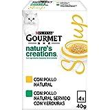 Purina Gourmet Crystal Soup comida para gatos con Pollo Natural y Verduras 10 x [4 x 40 g]