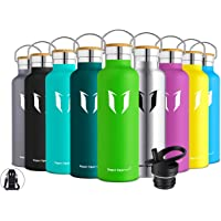 Super Sparrow Bottle - Stainless Steel Vacuum Insulated Water Bottle - Double Wall - Standard Mouth - 350ml, 500ml, 620ml, 750ml, 1000ml - Non-Toxic BPA Free - Ideal as Sports Bottle - 2 Lids