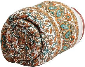 Mahadev Handicrafts Jaipuri Pure Cotton Traditional Rajasthani Print Orange Colour Single Bed Quilt/Razai / Rajai