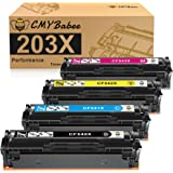 CMYBabee Compatible Cartucho de Toner para HP 203X CF540X 203A CF540A CF541X CF542X CF543X para HP Color Laserjet Pro MFP M28