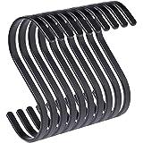 PAMO S haken zwart mat metaal - set van 10 - keukenhaken van roestvrij staal voor het ophangen van pannen in de keuken of kle