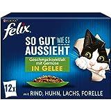 FELIX Zo goed als het eruit ziet, kattenvoer nat in gelei, rassenmix, verpakking van 6 (6 x 12 zakken à 85 g)