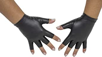 Sebeto Un paio di Guanti Moda Donna Eleganti Invernali e Caldi in EcoPelle senza dita Taglia Unica neri Made in Italy Total Vegan