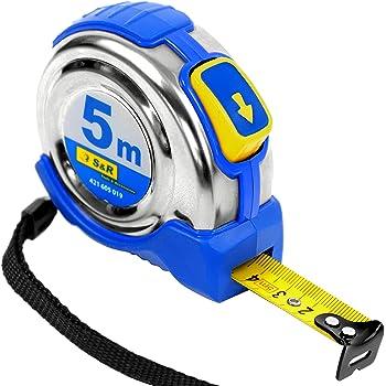 S&R Flessometro Metro a nastro 5,0 m x 19 mm, roll band con custodia compatta in acciaio inossidabile con un autolock nastro clip per cinghia serie FERRO, PROFI