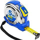 S&R Mètre ruban à mesurer 5,0m x 19mm, boîtier compact en acier inoxydable avec clip ceinture, ruban enduit en Polymère-nylon