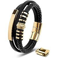 SERASAR   Premium Echtlederarmband für Männer in Schwarz   Magnetverschluss aus Edelstahl in Schwarz, Silber & Gold…