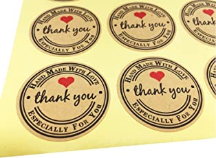 Thank You Label Envelopes Stickers Red Love Heart Retro Thank You Kraft Paper Stickers Card DIY Decorative Adhesive Label Decal for Wedding Party Gift Packaging Bake Decoration (Red-HM 120)