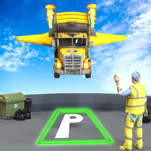 Flying Car Garbage Truck Stunt Simulator: Trash Cleaner