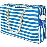 ManGotree Große Strandtasche, Strandtasche, Aufbewahrungstasche, Segeltuch-Strandtasche, Pool-Tasche, Schultertasche für Fitn