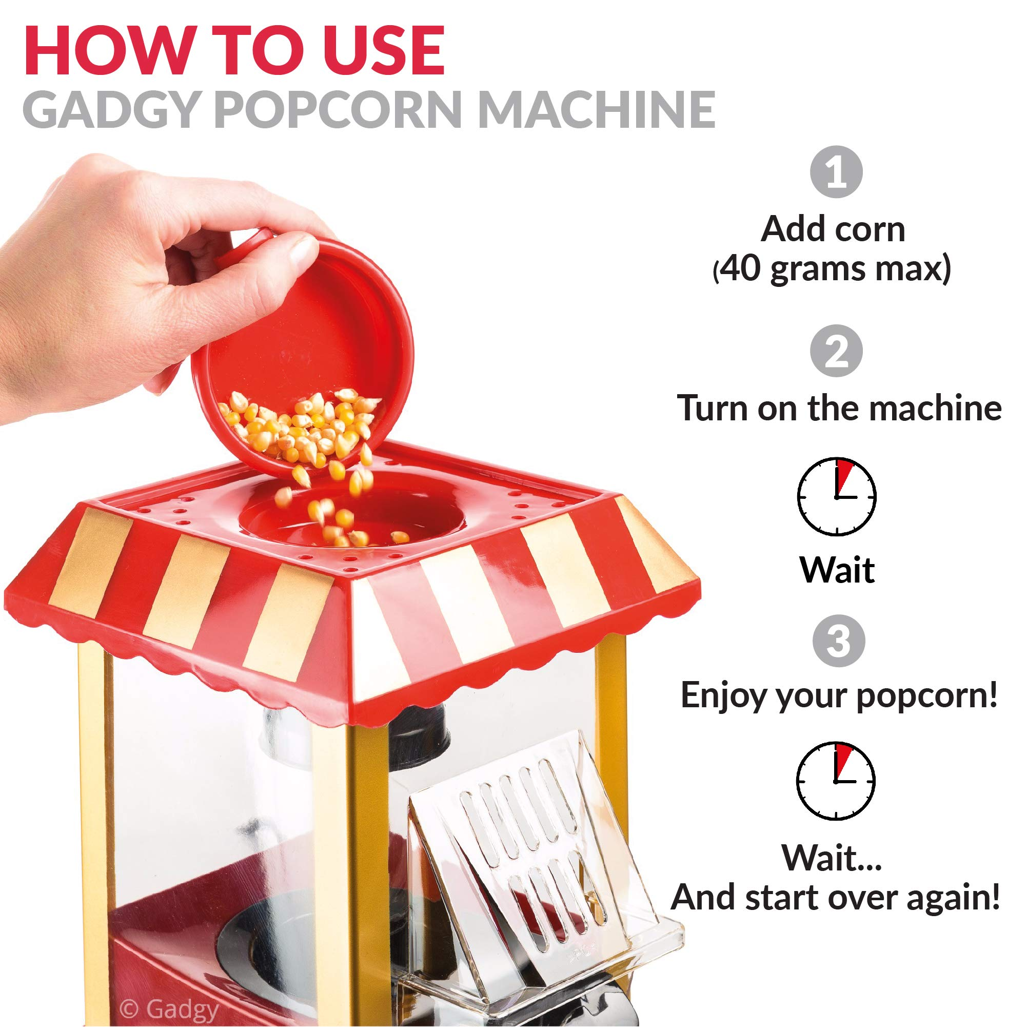 Gadgy Popcorn MaschineRetro Popcorn MakerHeissluft Ohne Fett Fettfrei