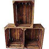 Lot de 3 caisses à vin en bois flammé - 50 x 40 x 30 cm : Cagettes à fruits vintage vintage - Pour la fabrication de meubles