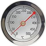 Lantelme 4895 Thermomètre de barbecue 500°C Sonde à clip En acier inoxydable Pour four, four à pizza, four à bois Affichage