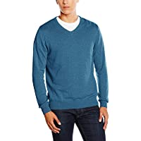 Paul James Men's Knitted Jumper | V-Neck, 100% Cotton, Breathable, Soft and Lightweight, Contemporary Fit