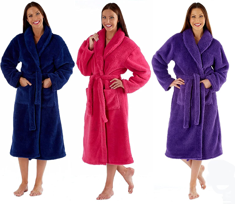 Ladies Fleece Dressing Gown Luxury Robe Navy Blue Pink Purple ...