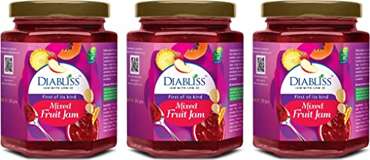 DIABLISS Diabetic Friendly Mixed Fruit Jam Made with Low GI Sugar - 250g Bottle Pack of 3 Combo