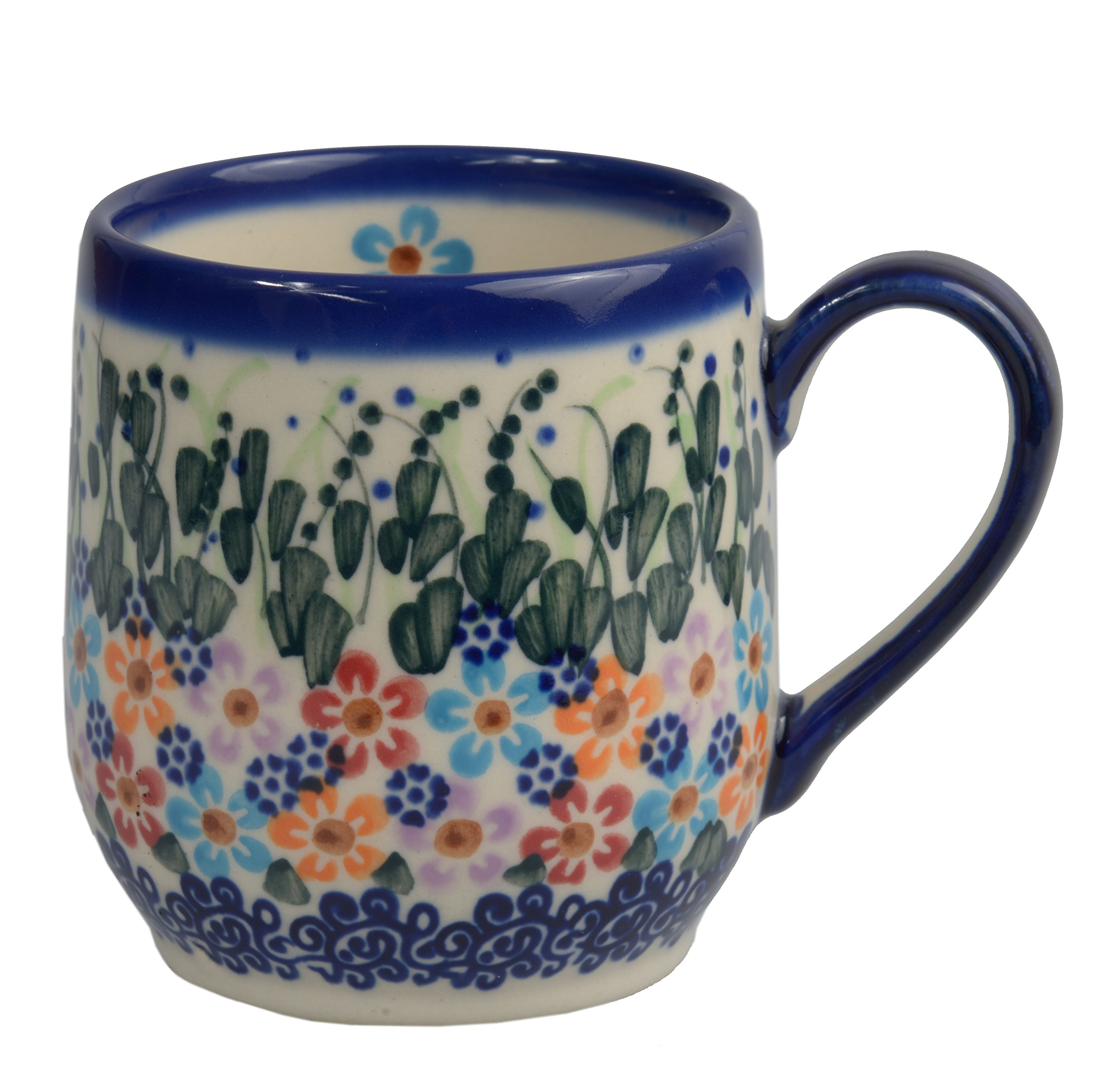 Traditional Polish Pottery, Handcrafted Ceramic Tulip-shaped Mug (300ml / 10.5 fl oz), Boleslawiec Style Pattern, Q.901.DAISY
