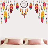 woopme Colorful Dream Catcher Wall Stickers Living Room Bedroom Hall Home Kitchen Office Shop Wall Decoration L X H 90 X 45 c