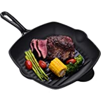 Velaze Griddle Pans Pre-Seasoned Cast Iron Grill Pan for induction hob, No-Stick, Square Ridged Frying Pan for Steak…