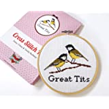 Adults Cross Stitch Kit for Beginners, Great Tits, Curious Twist