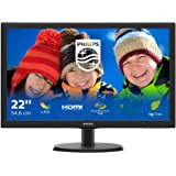 "Philips Monitor 223V5LHSB2 Monitor LCD-TFT per PC Desktop 21,5"" LED, Full HD, 1920 x 1080, 5 ms, HDMI, VGA, Attacco VESA, Ner"