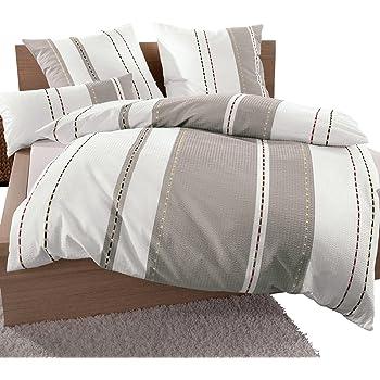 janine bettw sche seersucker braun beige gr e 135x200 cm. Black Bedroom Furniture Sets. Home Design Ideas