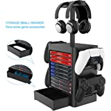 Joytorn Games Storage Tower(Up to 10 Games) for PS5,Game Disk Rack and Controller/Headset Stand Holder Compatible with Xbox S