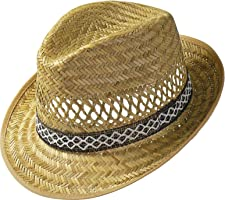 Erntehelfer Strohhut (Sonnenschutz) Damen und Herren |Sonnenhut im Trilby-Look | Hut aus Stroh für den Sommer am Strand...