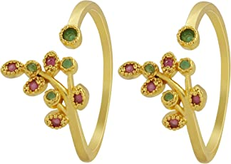 Much More Floral Design Work Toe Ring for Women Jewelry (Pink, White & Pink-Green)