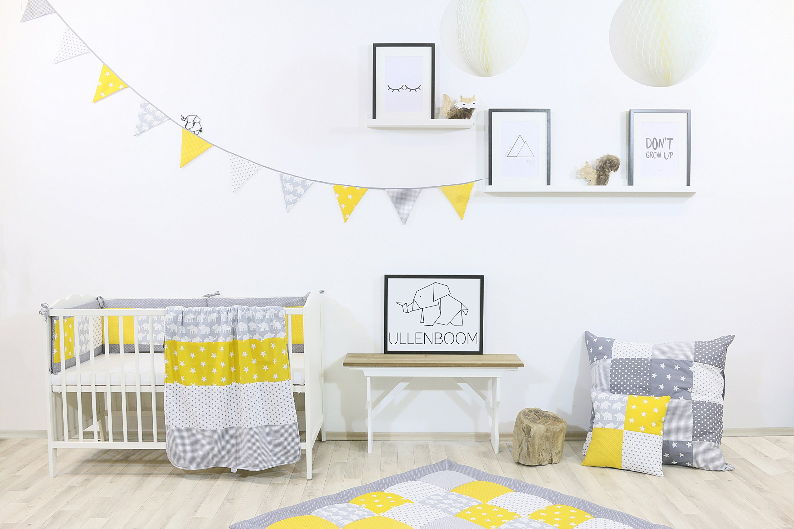 ULLENBOOM® Bumper- Yellow Elephants (400x 30cm Baby playpen Bumper, Full Surround Bumper Pads for 100x 100cm playpen) ULLENBOOM This 400x 30cm patchwork bumper serves as a protective insert and surround for 100x 100cm playpens, to provide babies with protection- especially head protection- from playpen bars The sizes 200x 30cm and 400x 30cm (full surround) are for playpens- the 'full surround' bumper comes in two sections. ULLENBOOM also offers additional sizes for 140x 70cm and 120x 60cm cots These bumpers can be washed at 30 °C and the materials used are certified according to the Oeko-Tex standard (tested for harmful substances, hypoallergenic); smooth outer fabric: 100% cotton (Oeko-Tex); soft, thick wadding: 100% polyester (Oeko-Tex) 3