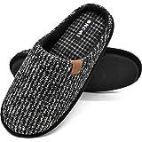Pantofole da Uomo Invernali Strisce, Comoda Memory Foam Calde Scarpe da Casa in Lana con Suola Antiscivolo 40-47