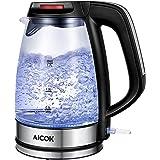 Aicok Glas Wasserkocher 1,7 Liter Wasserkocher mit LED-Beleuchtung, 2200 Watt Elektrischer Wasserkocher, Trockenlaufschutz, BPA Frei, schwarz