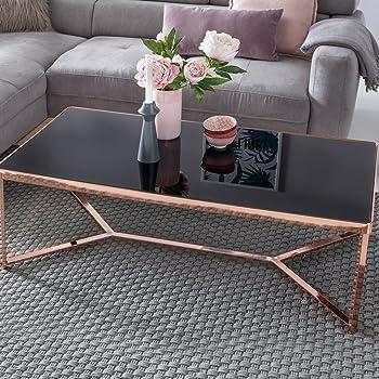 Kadimadesign Design Verre Table Basse Dessus Cuivre Noir Cadre