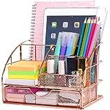 POPRUN Enfants Organiseur de bureau,Papeterie Organizer avec Pot à Styloet tiroir métal maille grille Or rose