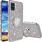 Case voor Samsung Galaxy A51, Glitter Bling Sparkle Crystal Clear Case met glanzende diamant 360 graden draaibare ringstandaa