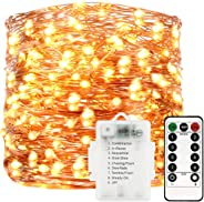Sunfuny LED Fairy String Lights 66ft 200 Leds, Battery Operated Waterproof Copper Wire Starry Firefly Lights, Timer Dimmable