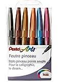 Pentel 6 Stück Flexi-Filzstifte zum Zeichnen, Kalligrafie, farbig sortiert, Künstler