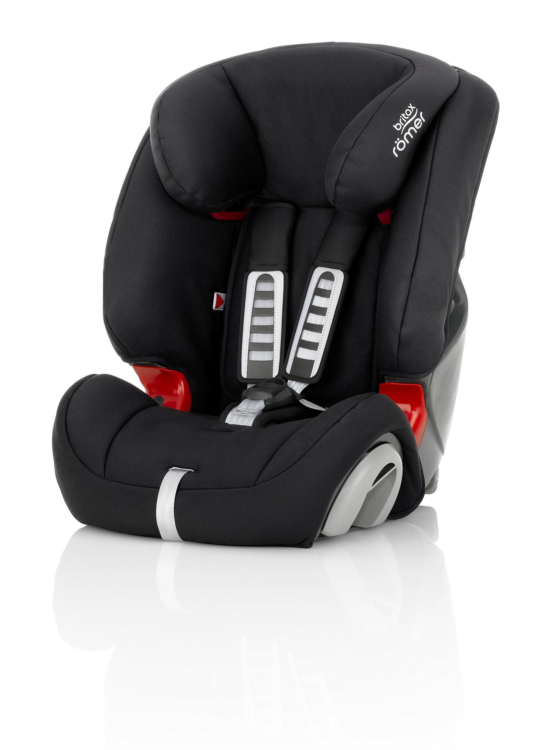 Britax Römer EVOLVA 1-2-3 Group 1-2-3 (9-36kg) Car Seat - Cosmos Black  Installation, 3-point seat belt only Reduced Forward Movement - Performance Chest Pads The padded headrest and harness can easily be adjusted with one hand to suit your child's height 1