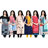Navlik Women's Crepe Straight Kurti(Pack of 6)
