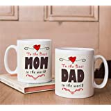 Tied Ribbons Anniversary Gifts For Mummy Papa Set Of 2 Printed Coffee Mug(325Ml,White)