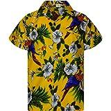 King Kameha Chemise Hawaïenne Homme Funky Casual Button Down Very Loud Poche Avant Courtes Unisex Perroquet Cerisier Impressi