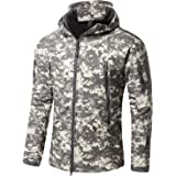 YFNT Men's Tactical Softshell Fleece Jackets Camouflage Military Hoodie Outdoor Hiking Camping Warm Lining Windproof Waterpro