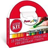 Pentel PTS Starter Kit pastelli per tessuto 15 pz e roller gel permanente per tessuti